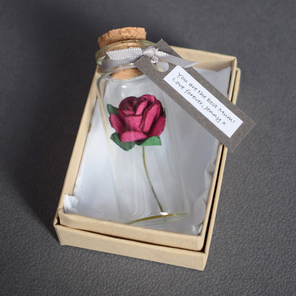 Personalised Mother's Day Gift - Miniature Personalised Paper Tea Rose In A Bottle - Made In Words