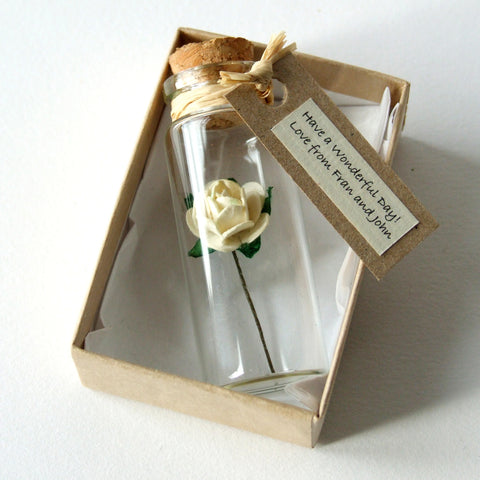 Valentine's Day Gift - Tiny Personalised Tea Rose In A Bottle - Made In Words
