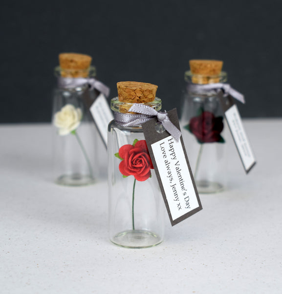Miniature Personalised Paper Tea Rose In A Bottle