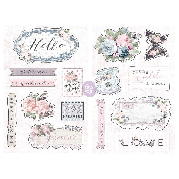 Prima - Spring Farmhouse Collection - Poetic Rose Chipboard