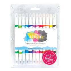 Artiste Dual Tip Brush Markers (12 Pack) - Brights