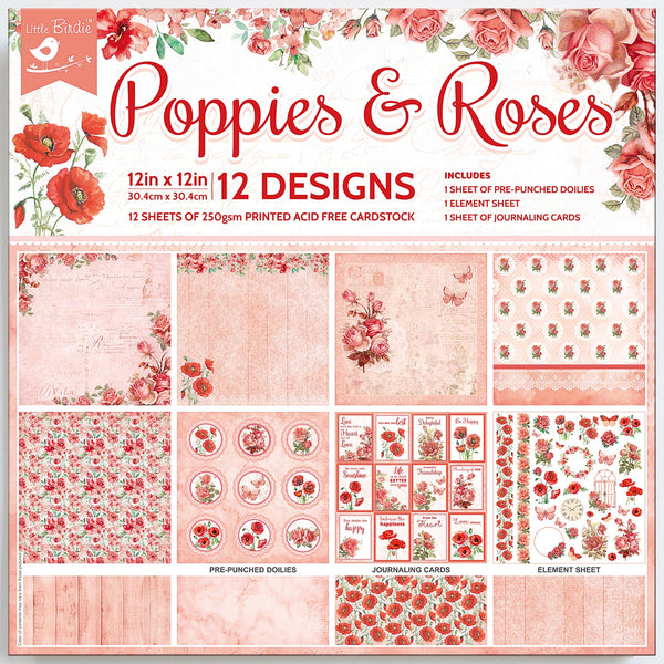 Little Birdie - Poppies and Roses Flowers Collection Kit (single sided)
