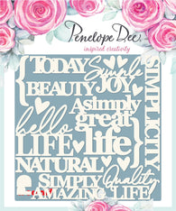 Penelope Dee - Simply Life Collection Chipboard - English Sentiments