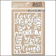 Celebr8 - Love Story Collection Chipboard - Title & Words