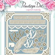 Penelope Dee - Forget Me Not Collection Chipboard - Love Story