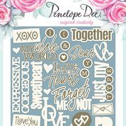 Penelope Dee - Forget Me Not Collection Chipboard - English Sentiments