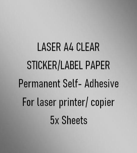 Laser - A4 Clear Sticker/Label Paper