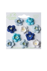 Bloom - Flowers - Cherry Blossoms - Blue and Aqua (10pc)