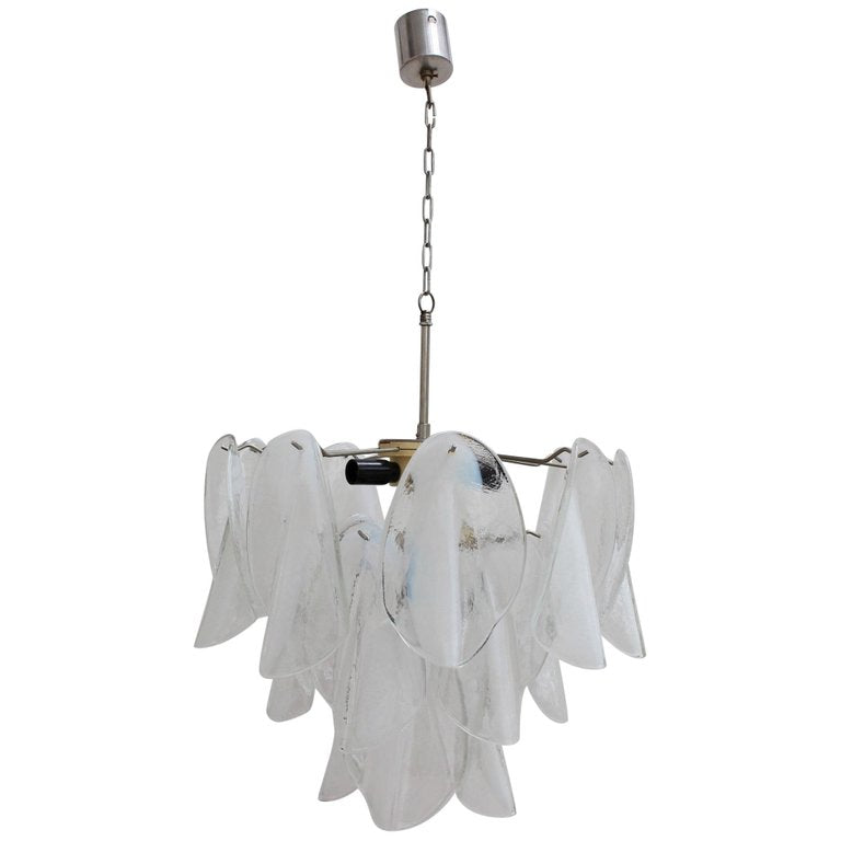 Italian Murano Frosted White 'Rondine' Glass Chandelier by Vistosi (Circa 1980s)