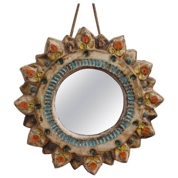 Ceramic Sunburst Mirror by La Roue (Circa 1950s)