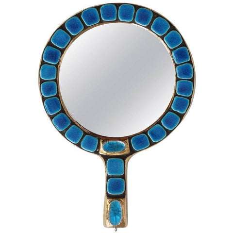 Ceramic Tiled Hand Mirror by François Lembo (Circa 1970s)