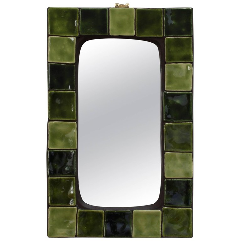 French Ceramic Tiled Mirror (Circa 1970s)