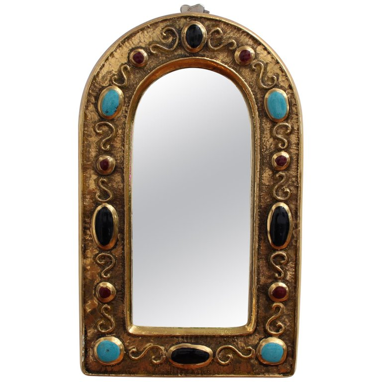 Byzantine Style Decorative Glazed Ceramic Wall Mirror by François Lembo (Circa 1960s - 70s)