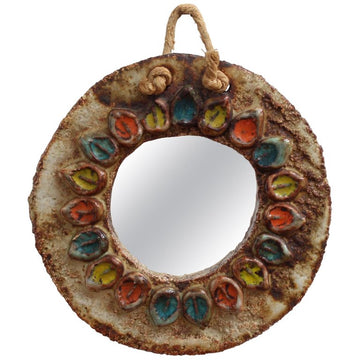 Ceramic Flower Motif Wall Mirror Attributed to La Roue Vallauris (Circa 1960s)