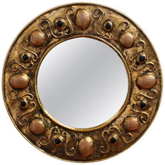 Gilded Ceramic Decorative Wall Mirror by François Lembo (Circa 1960s - 70s)