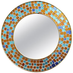 Mid-Century Circular Brass Wall Mirror with Decorative Mosaic Glass (circa 1960s)