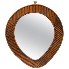 French Rattan Tear Drop Mirror (circa 1960s)