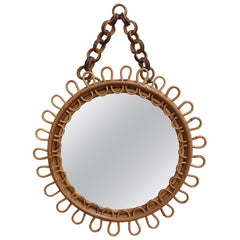 Italian Round Rattan Wall Mirror with Chain (circa 1960s)