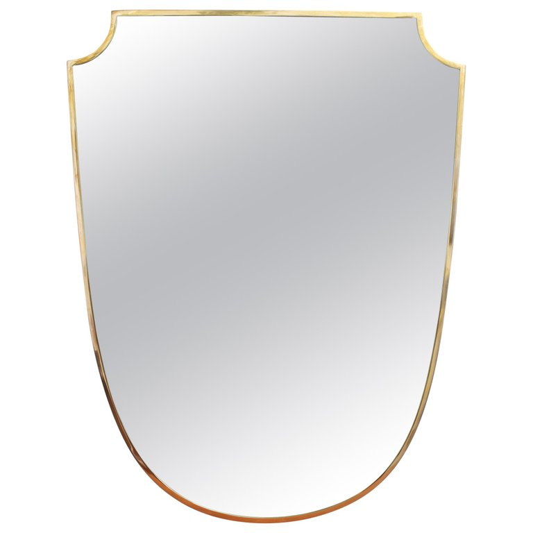Mid-Century Crest-Shaped Italian Wall Mirror with Brass Frame (circa 1950s)