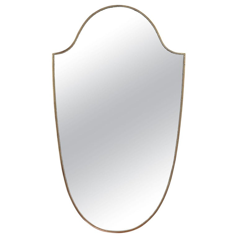 Mid-Century Italian Wall Mirror with Brass Frame and Beading (circa 1950s)