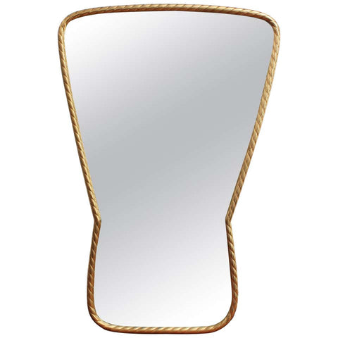 Mid-Century Italian Keyhole-Shaped Wall Mirror with Rope Pattern Brass Frame (circa 1950s)
