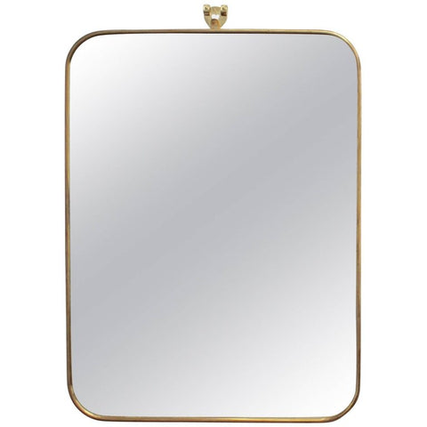 Italian Mid-Century Mirror with Brass Frame - Small (c. 1950s)