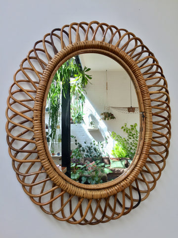 Italian Rattan Wall Mirror In the Style of Franco Albini (c. 1950s)