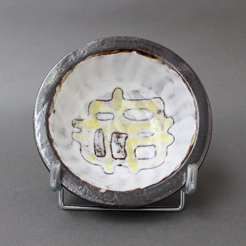 Vintage French Ceramic Decorative Bowl with Abstract Motif Attributed to Jean Rivier (circa 1960s)