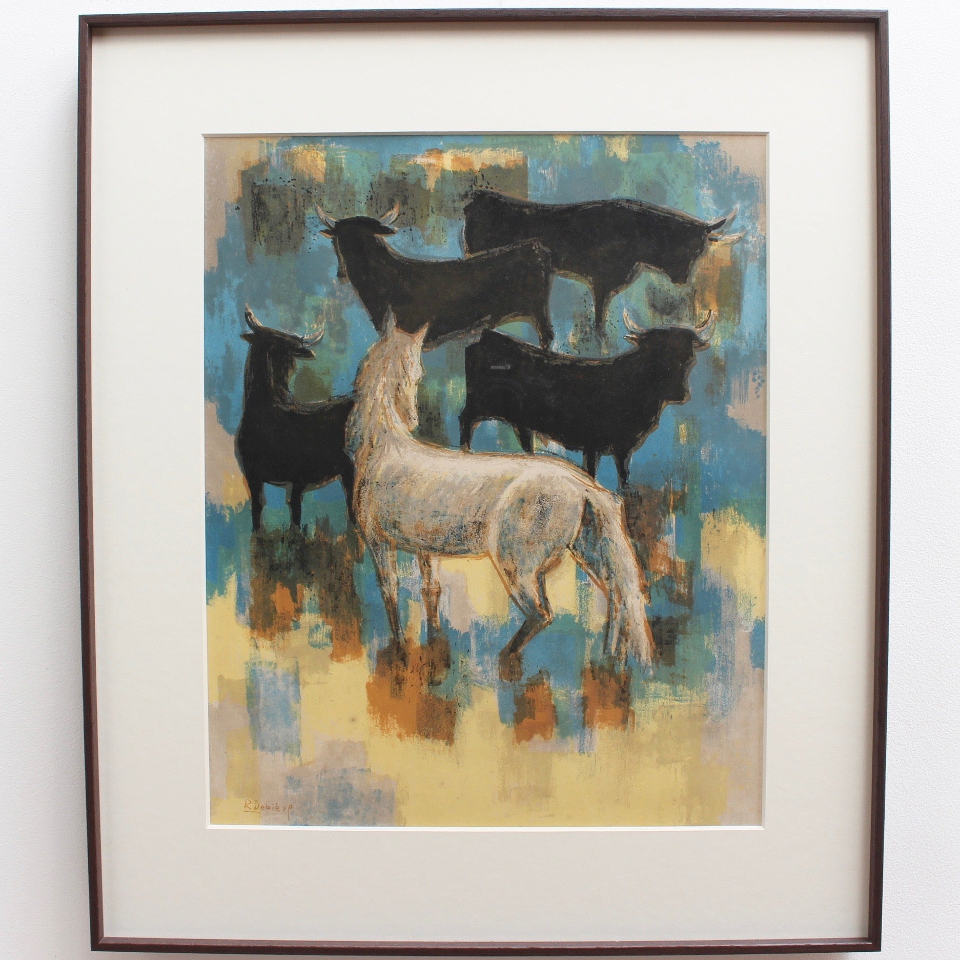 'The Horses and Bulls of the Camargue', Original Lithograph by Robert Debiève (circa 1960s)