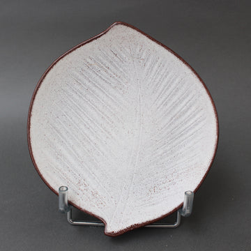 Vintage French Leaf-Shaped Ceramic Dish by Marcel Guillot (circa 1960s)