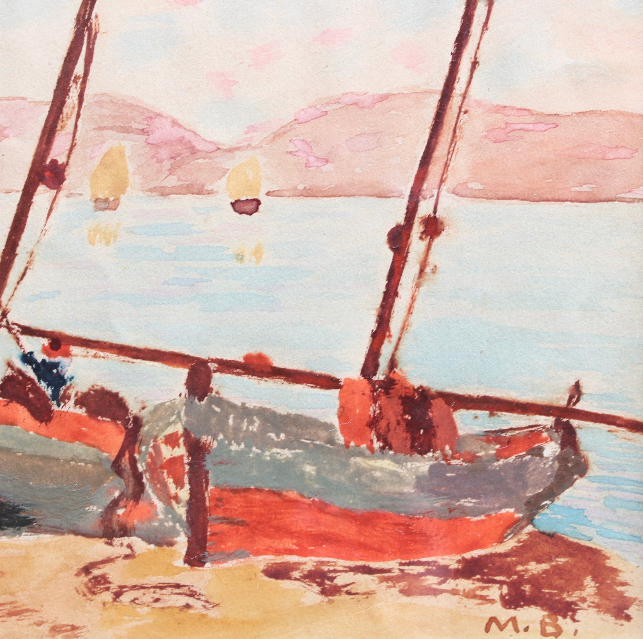 'Beached Fishing Boats in St. Tropez' by Maurice Brianchon (1928)