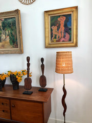 Mid-Century French Wooden and Brass Floor Lamp (circa 1950s)