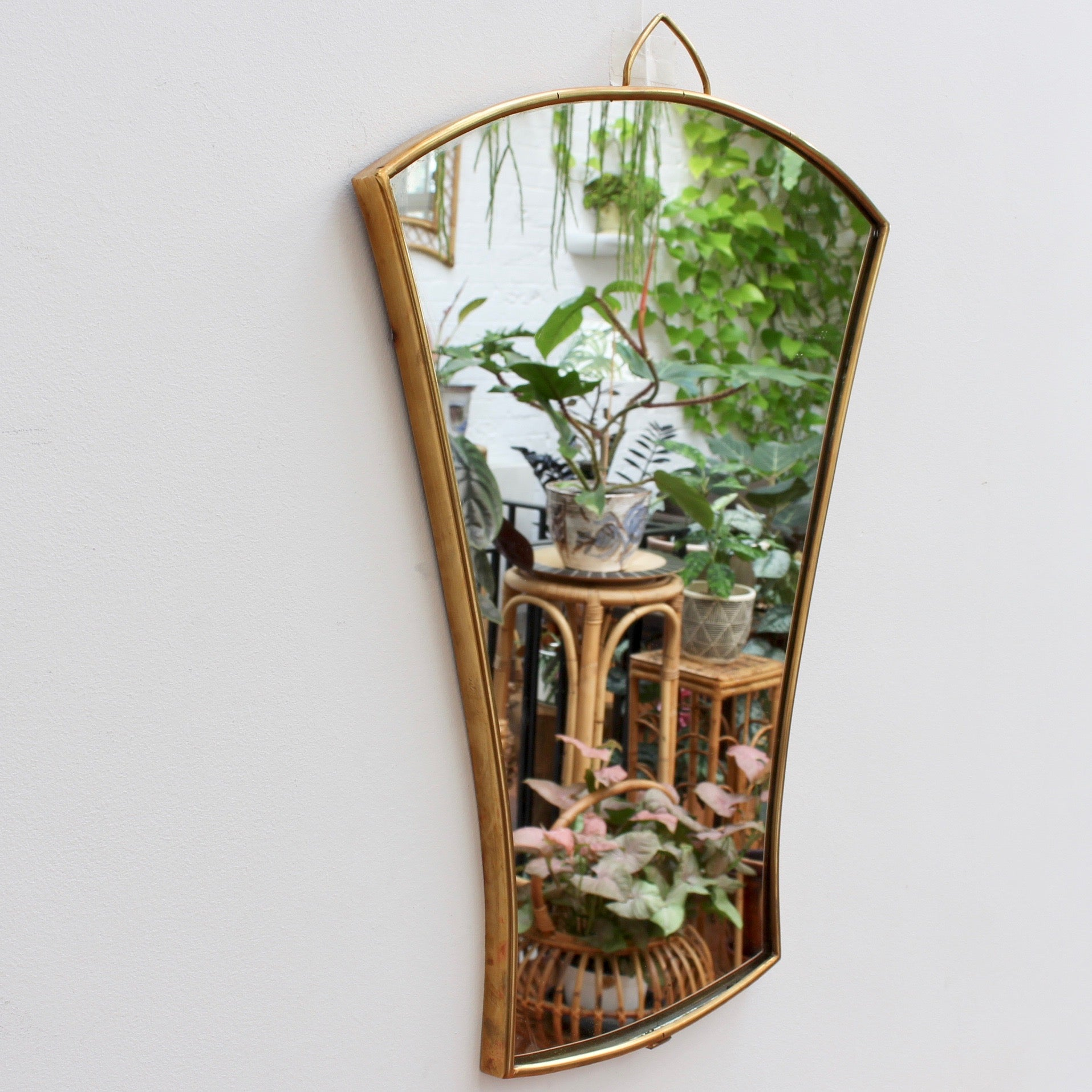 Pair of Italian Fan-Shaped Wall Mirrors with Brass Frames - Small (circa 1950s)