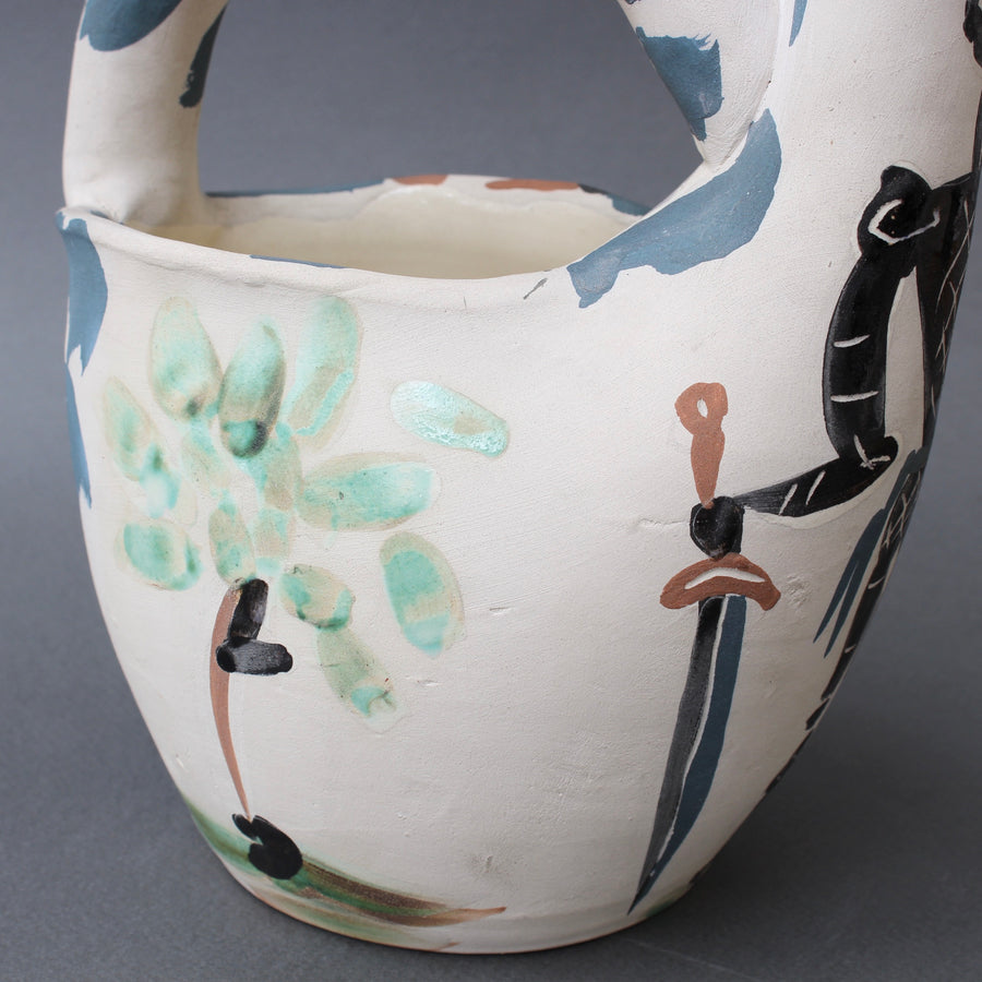 Mid-Century Earthenware Pitcher 'Rider and Horse' (20/300) by Pablo Picasso (1952)