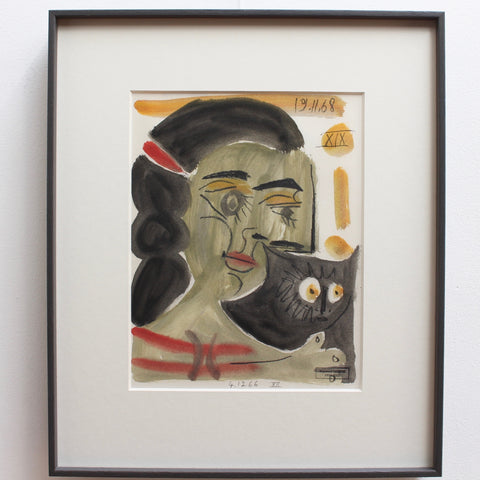 'Young Woman and Cat' by Raymond Debiève (1968)