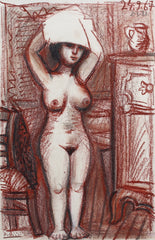 'Nude Woman Drying Her Hair' by Raymond Dèbieve (1967)