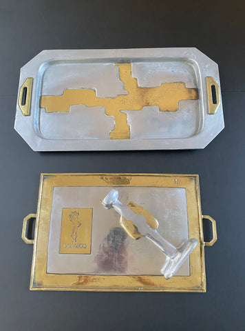 Aluminium and Brass Serving Tray in the Style of David Marshall (circa 1970s)