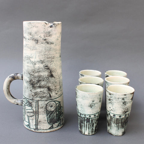 Ceramic Pitcher and 6-Cup Set by Jacques Blin (circa 1950s)