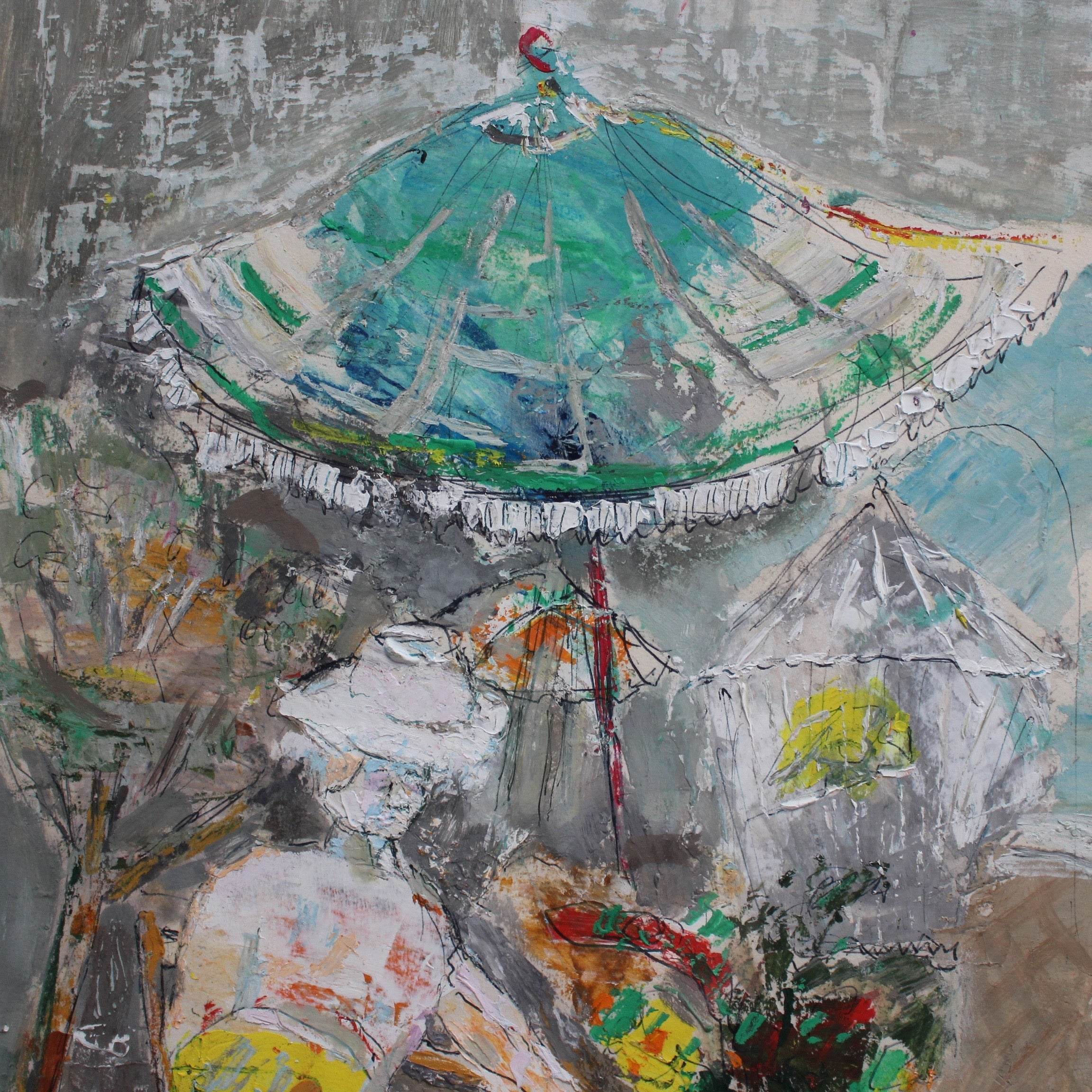 'Reposing Woman Under a Parasol' by René Hamiot (1963)