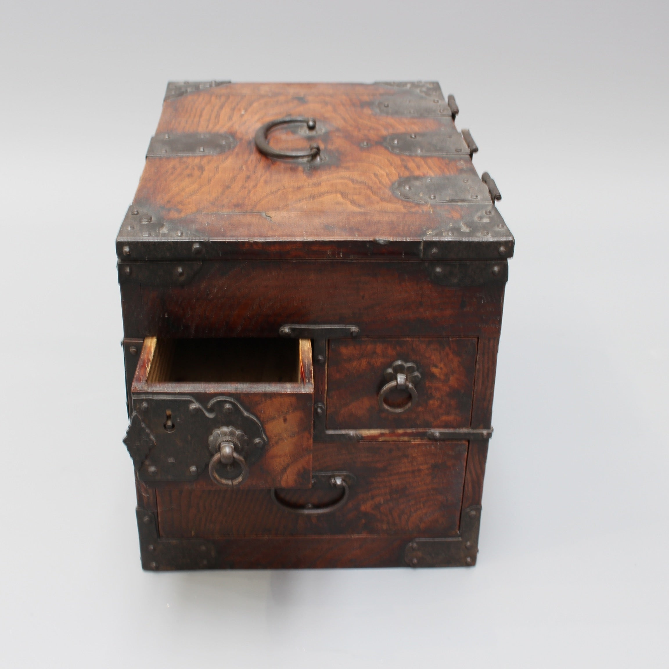 Antique Japanese Wooden Writing Box with Decorative Hardware (Meiji Era)