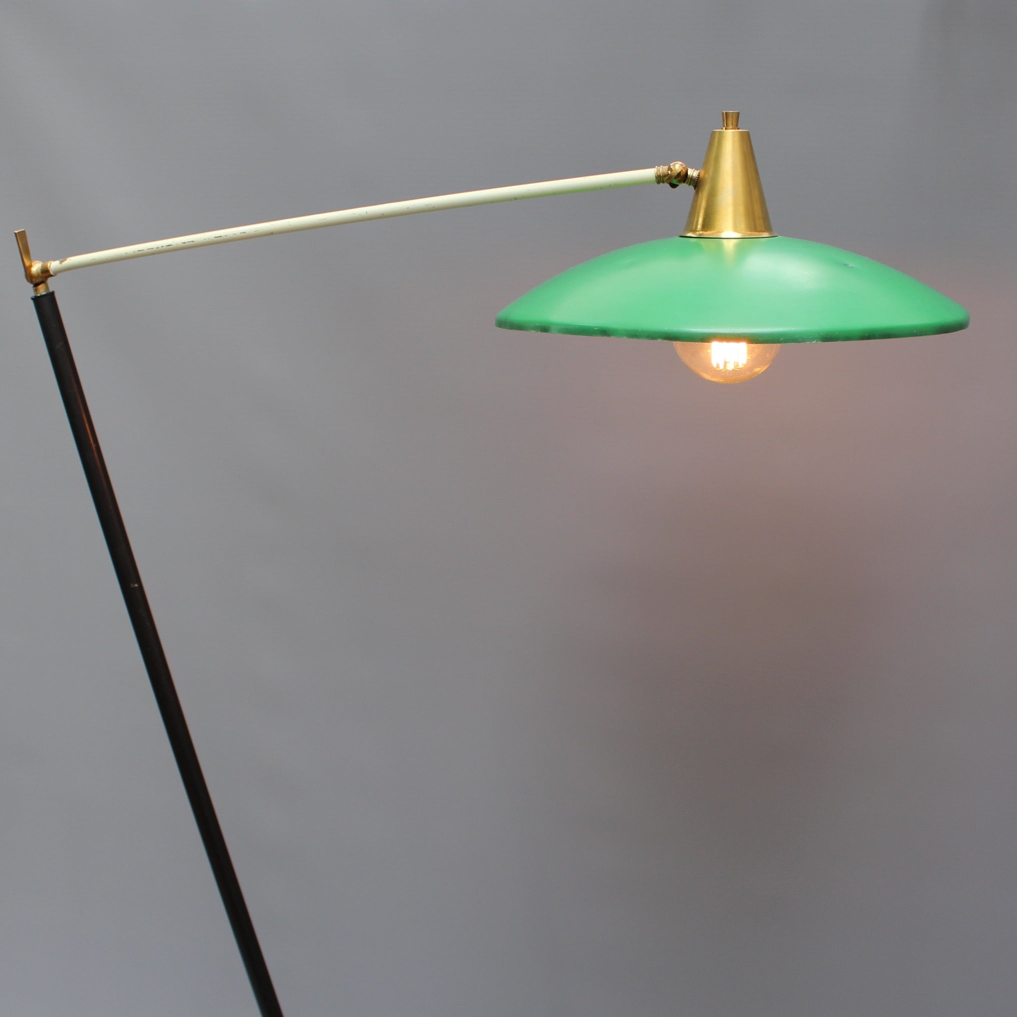 Stilux Italian Articulating Floor Lamp with Green Shade (circa 1950s)