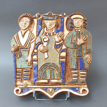 French Decorative Ceramic Wall Plaque with Three Figures by Les Argonautes (circa 1960s)