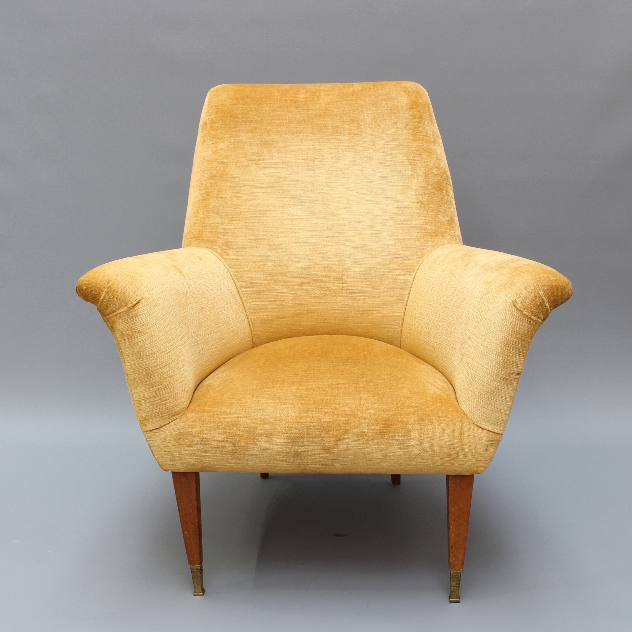 Pair of Mid-Century Italian Armchairs in Golden Velvet (circa 1950s)