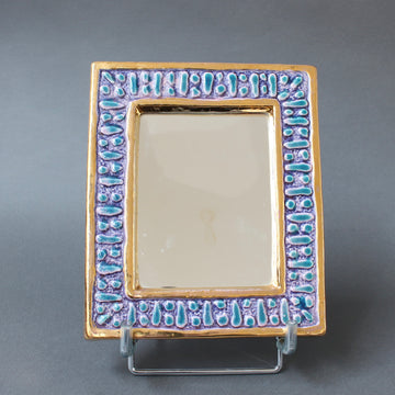 Ceramic Wall Mirror with Enamel Glaze Attributed to François Lembo (circa 1970s) - Small