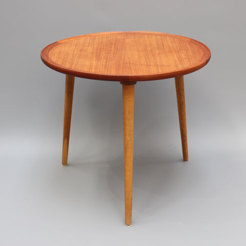 Mid-Century Modern Danish Circular Teak End Table (Circa 1960s)