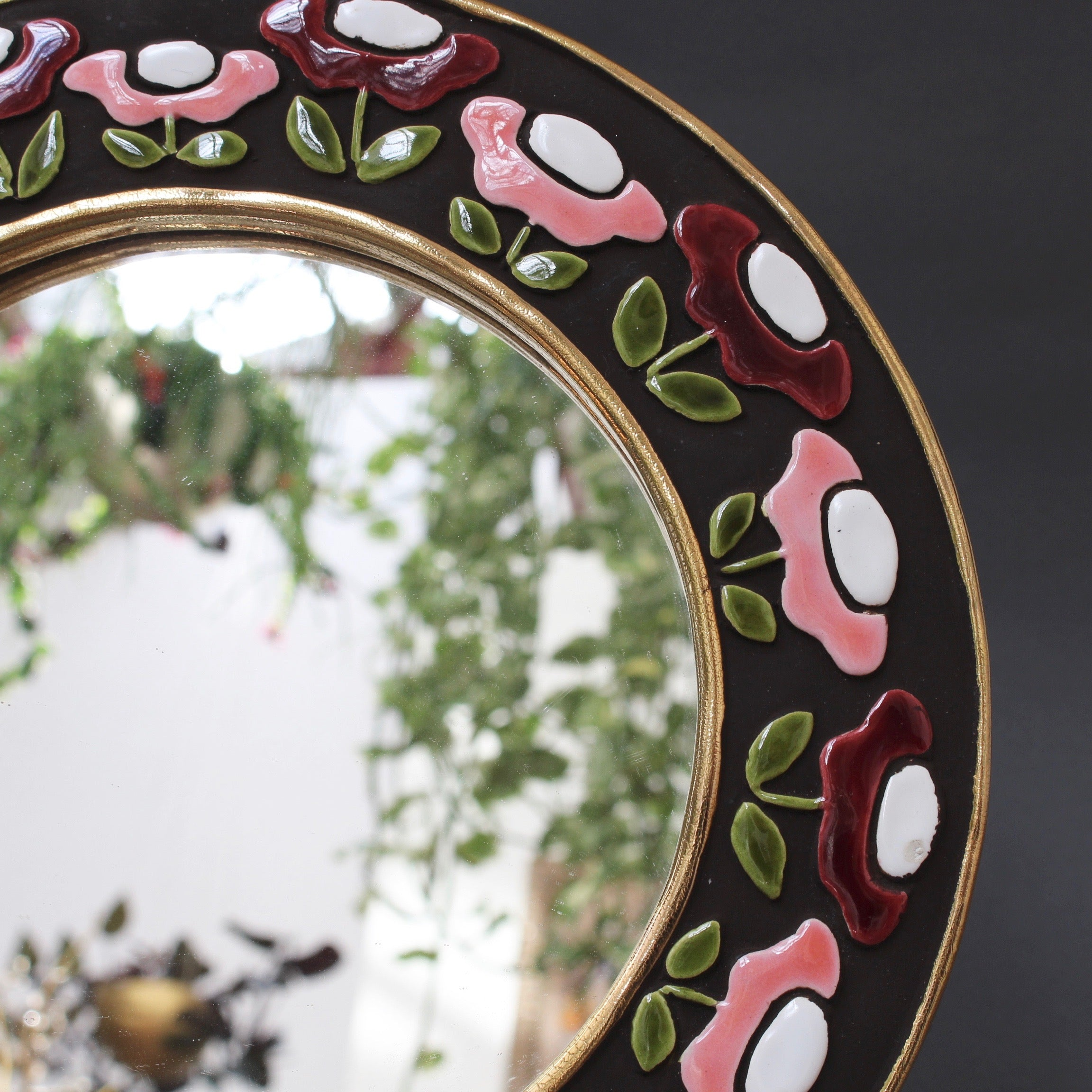 Ceramic Wall Mirror with Flower Motif by Mithé Espelt (circa 1960s)