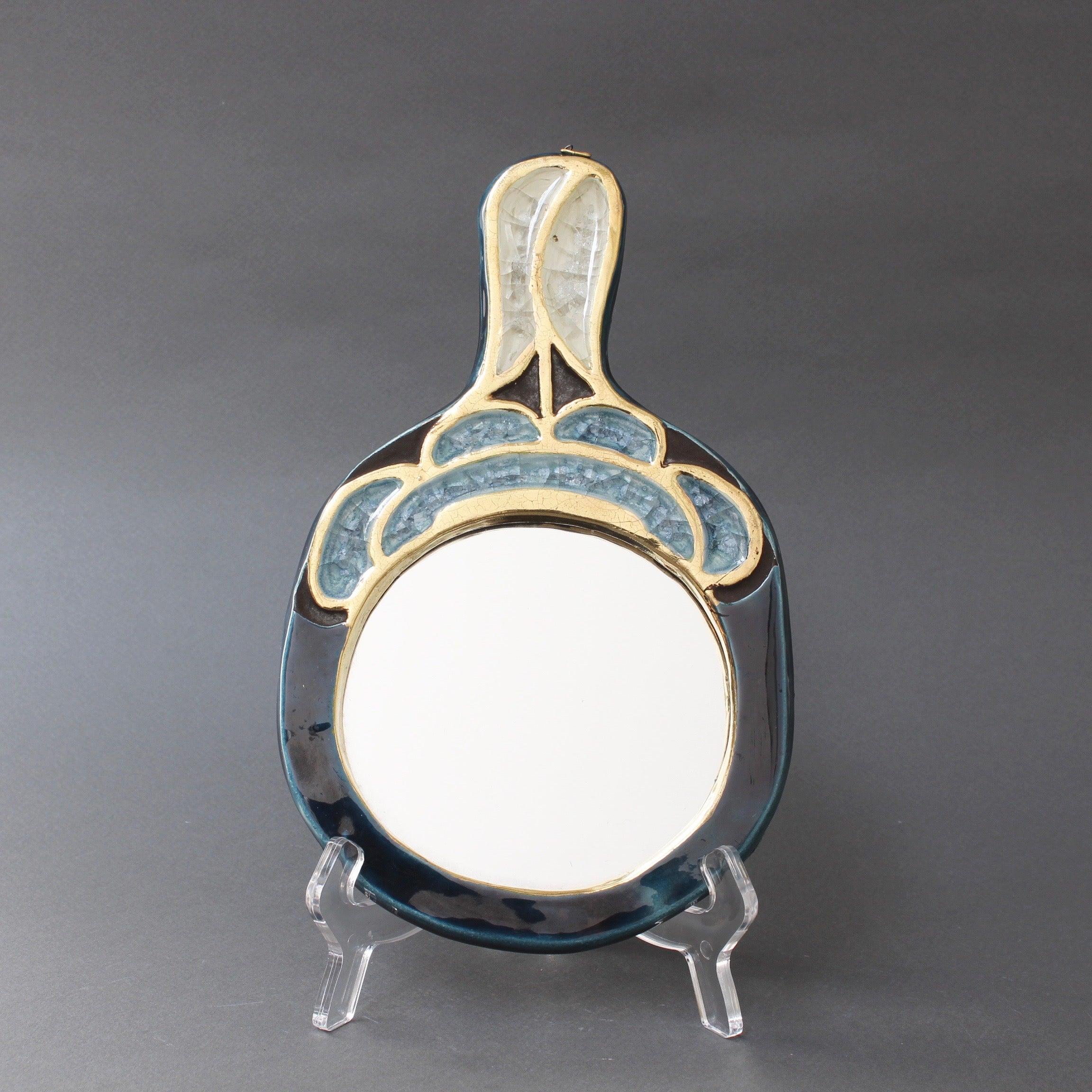 Ceramic Hand Mirror by François Lembo (circa 1960s)