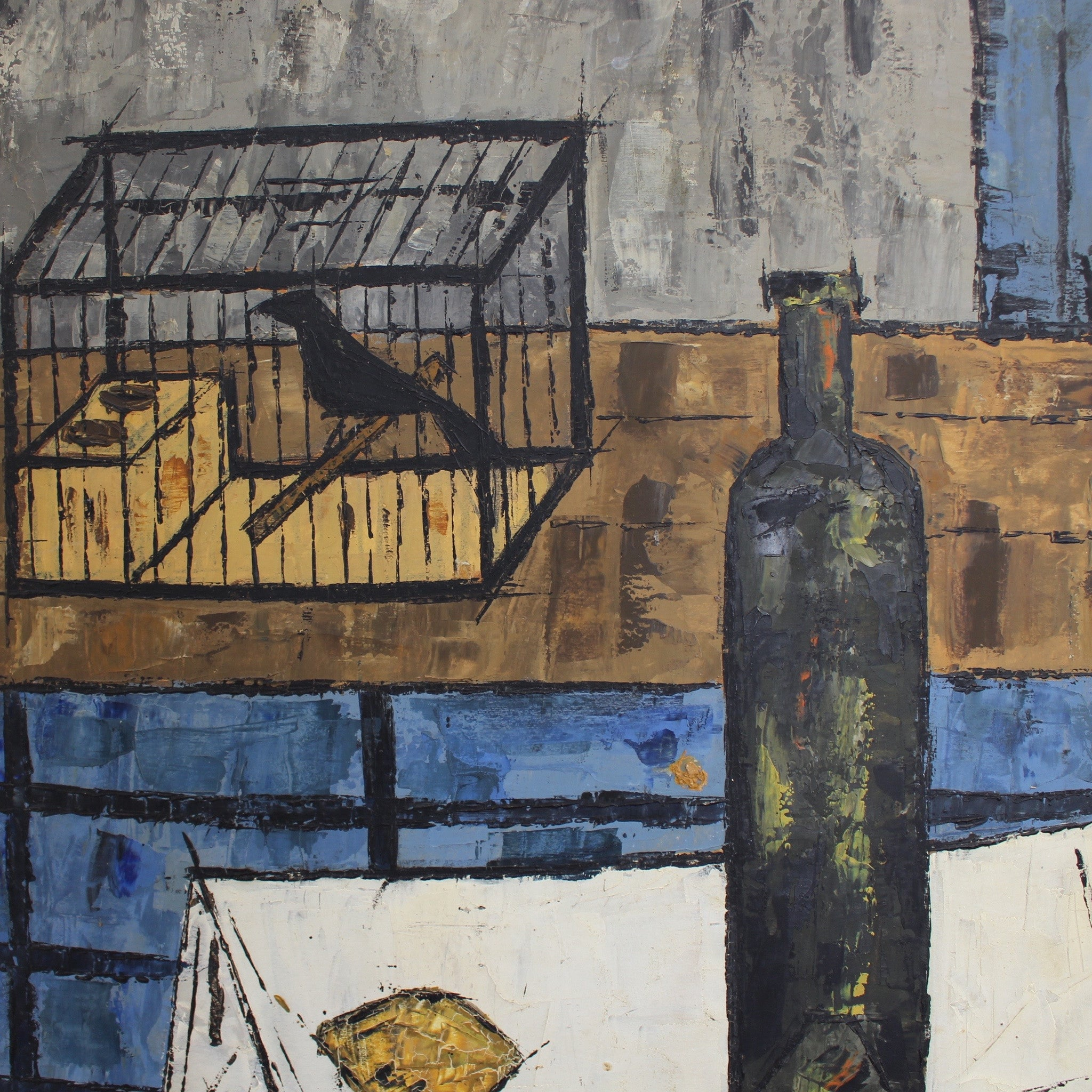 'Still Life with Raven, Lemon and Wine Bottle' by Vicenç Caraltó (1959)