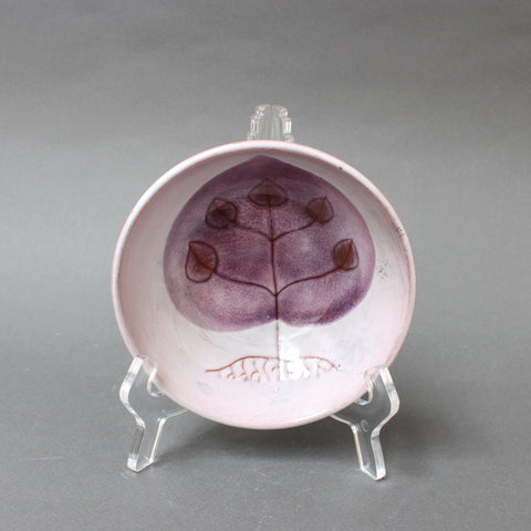 Decorative Ceramic Vide-Poche / Bowl with Plant Motif by Cloutier Brothers (circa 1970s)