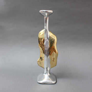 Aluminium and Brass Brutalist Style Candle Stand in the Style of David Marshall (circa 1970s)